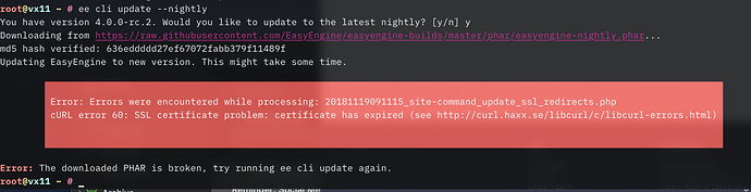 SSL Cert renewal failed on RC2, now updates to 4 0 10 fails